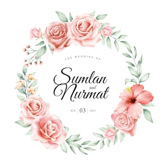 Floral wreath wedding card design