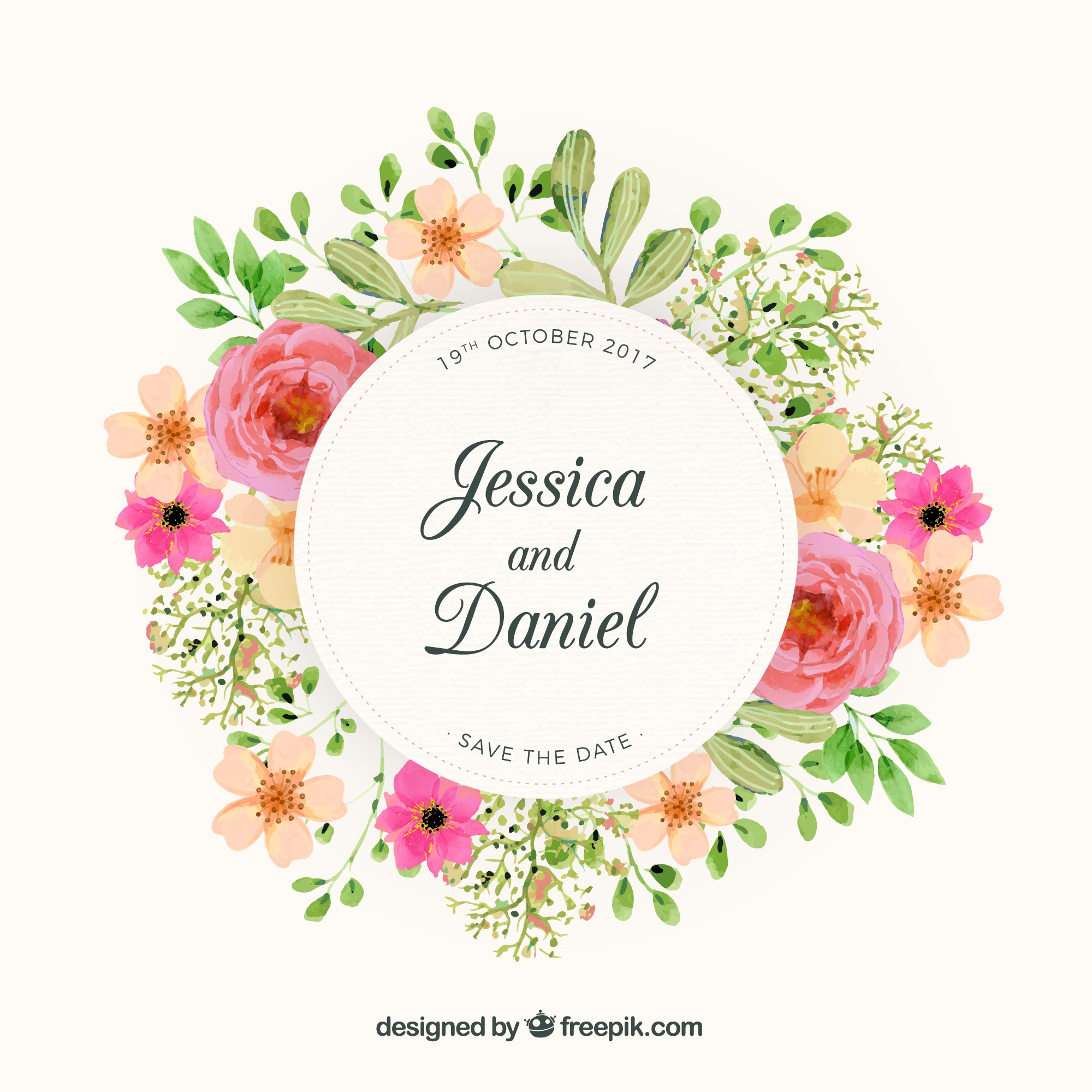 Floral wreath wedding design