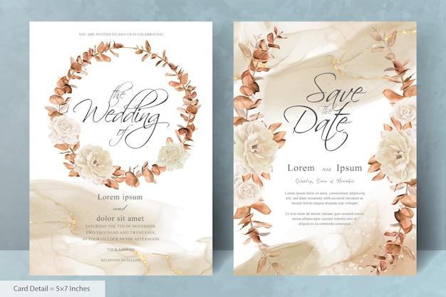 手描きの花とユーカリの葉と花の花輪の結婚式の招待カードテンプレート