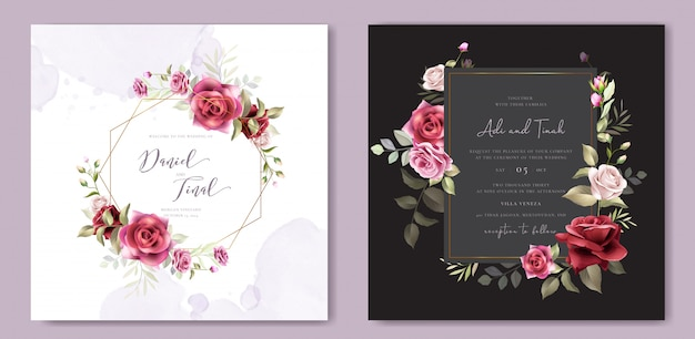 Floral wreath wedding invitation card template