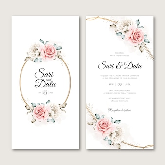 Floral wreath wedding invitation card in watercolor style