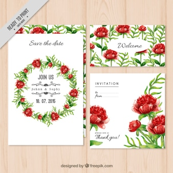 Floral wreath wedding invitation pack