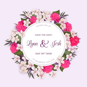 Floral wreath wedding template