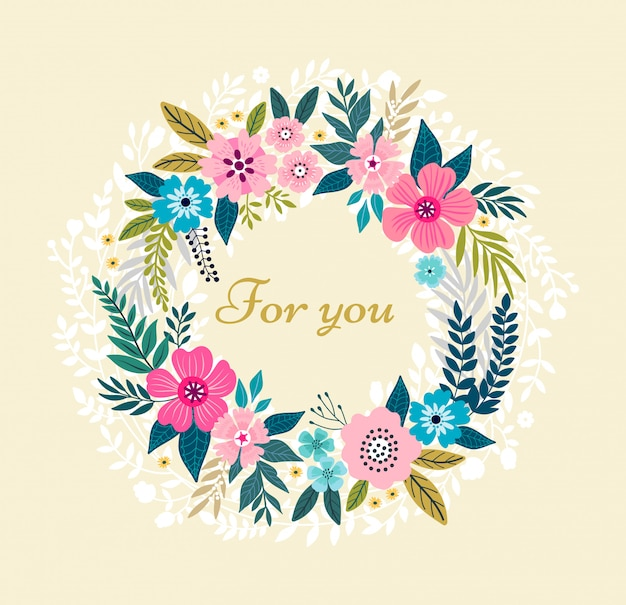 Floral wreath on white background. bright colorful spring flowers.