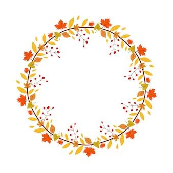 Цветочный венок с осенними листьями и ягодами