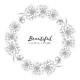 Floral wreath with dahlia flower sketch