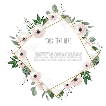 Floral wreath with green eucalyptus leaves, flower rose, anemone