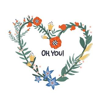 손으로 그린 꽃 꽃 화 환 프리미엄 벡터