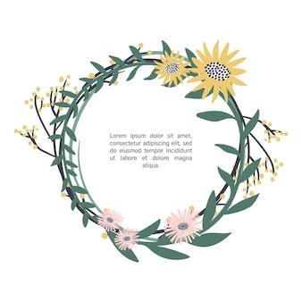 손으로 그린 꽃 꽃 화 환
