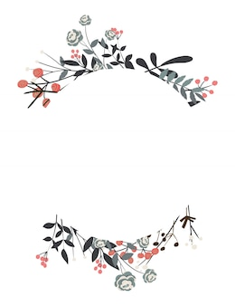 Floral wreath with leaves for wedding and holiday