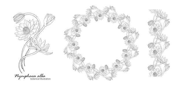 ユリの花と花の花輪。