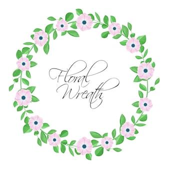 ピンクの花と花の花輪。