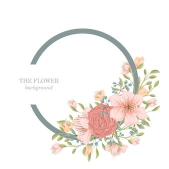 甘い花と花の花輪 無料ベクター