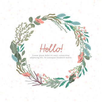 Floral wreath with texture background