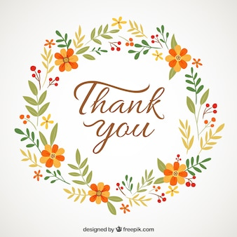 Floral wreath with  thank you  message