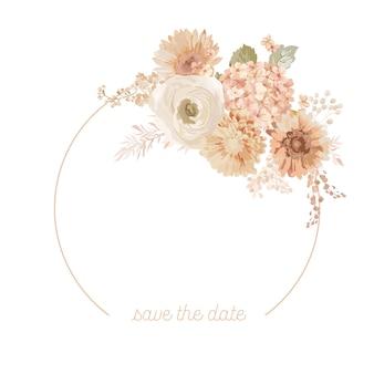 Цветочный венок с акварельными сухими пастельными цветами, пампасной травой, тропической пальмой. векторная летняя винтажная иллюстрация баннера цветок орхидеи. свадебные современные приглашения, модные открытки, роскошный дизайн