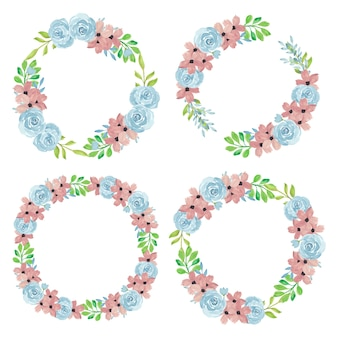 Floral wreath with watercolor floral illustration set
