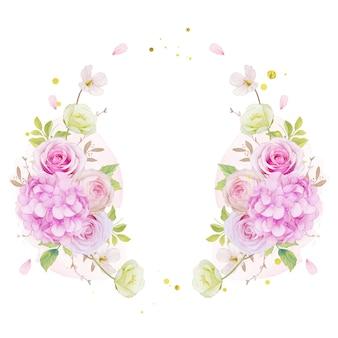 Цветочный венок с акварельными розовыми розами и синим цветком гортензии