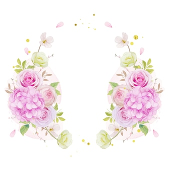 Floral wreath with watercolor pink roses and blue hydrangea flower