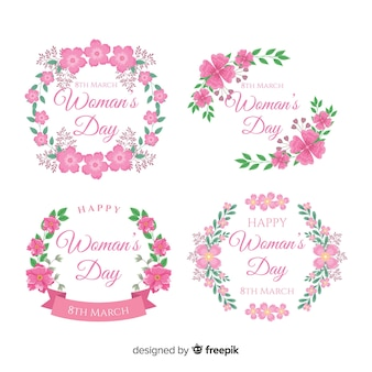 Floral wreath women's day badge collection