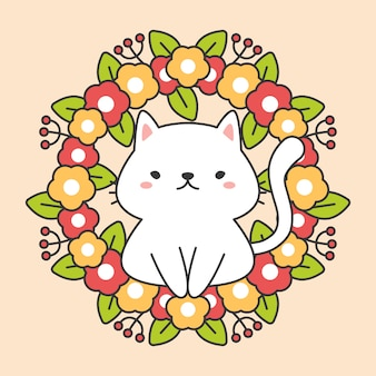 Floral wreathe with leaves and cute cat charactor
