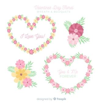 Collezione di ghirlande e mazzolini floreali per san valentino