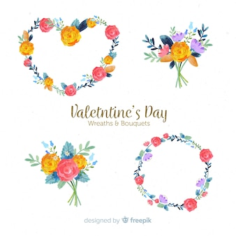 Floral wreaths and bouquets collection for valentines day