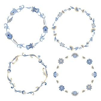 꽃 화환 컬렉션 아시아 동양 꽃과 식물
