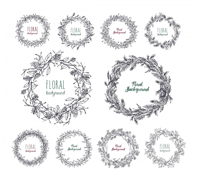 Floral wreaths set. hand drawn frames collection.