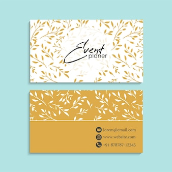 Floral yellow business cards template
