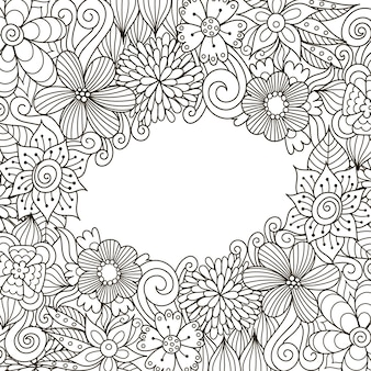 Floral zentangle decorative frame