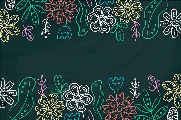 黒板背景に花柄