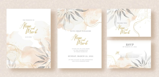 Florals painting with splash watercolor on wedding invitation design