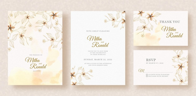 Florals shapes watercolor painting with splash on wedding invitation background