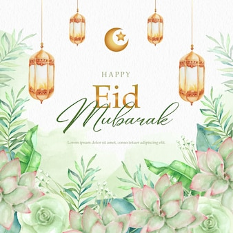 Florals watercolor painting with lantern on eid mubarak greeting card