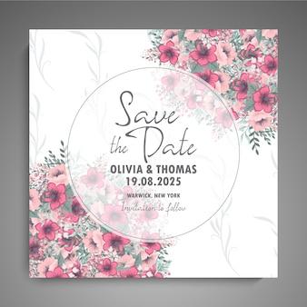 Florals 웨딩 카드 서식 파일