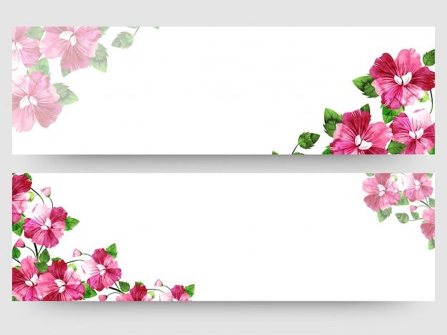 カラフルな水彩画のfloralsで設定されたウェブサイトのヘッダーまたはバナー。