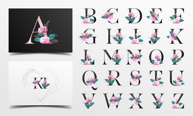 Floralwatercolor装飾が施された美しいアルファベットコレクション