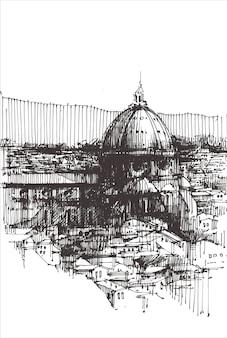 フィレンツェ大聖堂の建物の手描き。