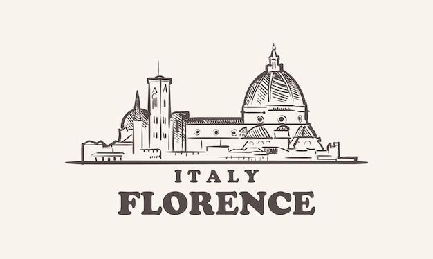 Эскиз городского пейзажа флоренции рисованной италии иллюстрации