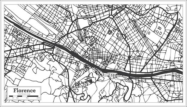 レトロなスタイルのフィレンツェイタリアシティマップ。白地図。ベクトルイラスト。