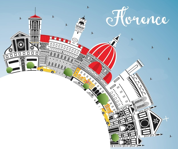 Florence italy city skyline with color buildings, blue sky and copy space. vector illustration. business travel and tourism concept with modern architecture. florence cityscape with landmarks.