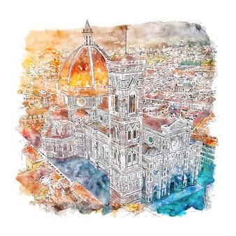 Флоренция италия акварельный эскиз рисованной иллюстрации