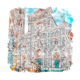 Florence italy watercolor sketch hand drawn illustration
