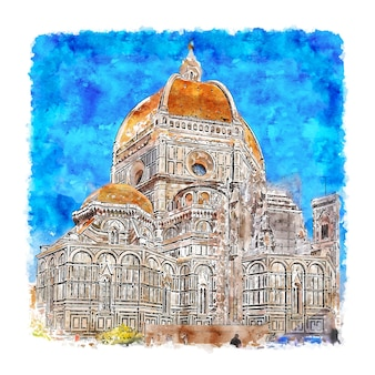 Florence tuscany italy watercolor sketch hand drawn illustration