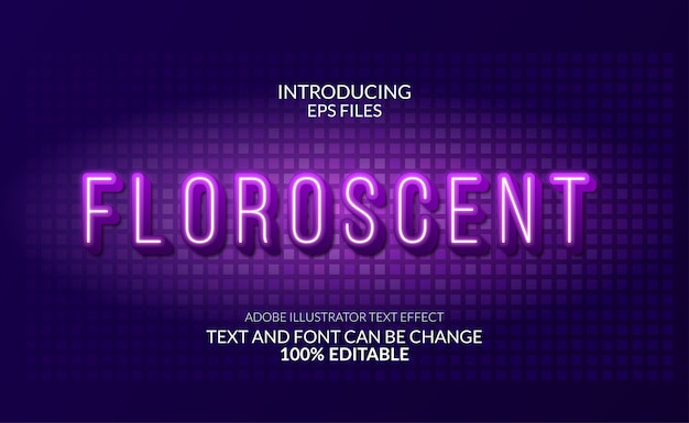 Florescent modern glow neon text effect. editable text and font