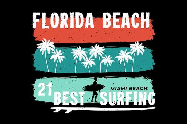 플로리다 해변 서핑 마이애미 복고 스타일