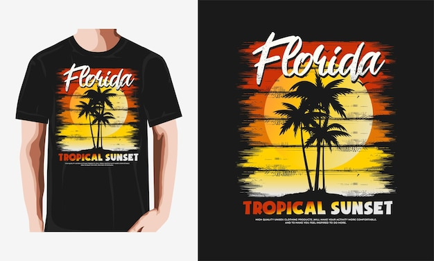 팜 스타일 빈티지 일러스트와 함께 플로리다 해변 인쇄 술 티셔츠 premium 벡터