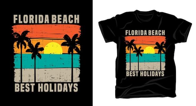 Типография пляжа флориды с дизайном винтажной футболки солнце и пальмы