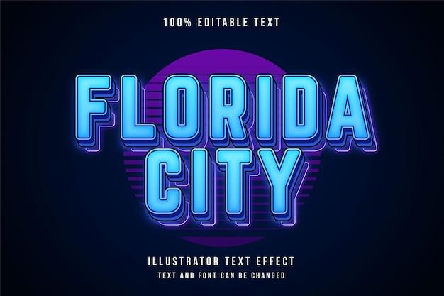 青のグラデーションでフロリダシティの編集可能なテキスト効果